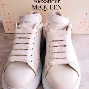 Alexander McQueen white/rose gold sneakers